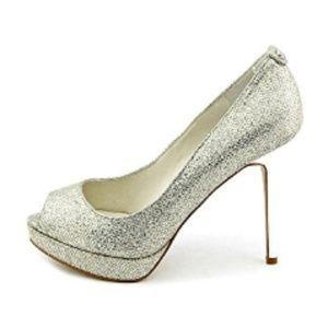 Michael Kors York Platform Pumps Silver Glitter,10